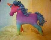 Handdyed Waldorf Steiner Felt Unicorn Toy