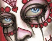 "Day of the Dead Sugar Skull ""Miranda"" ACEO"