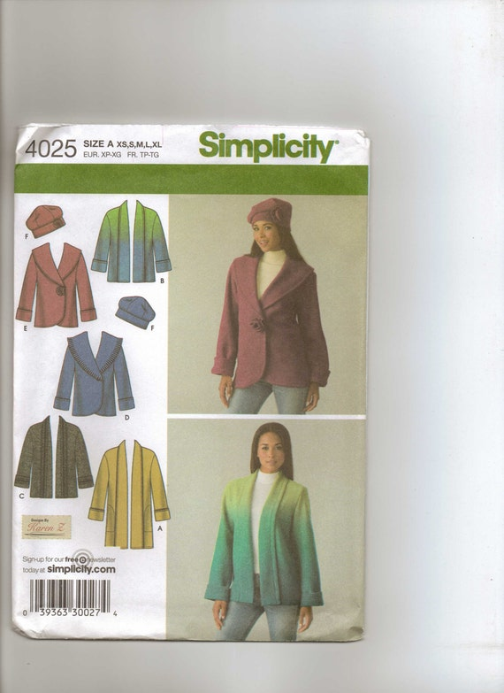 Simplicity Pattern 4025 Womens Jacket with Front Variations and Hat in Three Sizes - Size 6 to 24 Bust 30 1/2 to 42 UnCut
