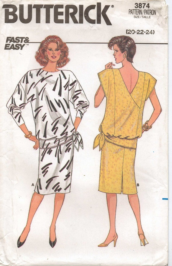 80s Butterick Pattern 3874 Womens Easy Pullover Two Piece Dress Size 20 22 24 Bust 42 to 46 UnCut