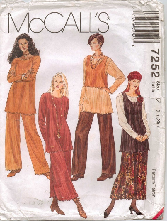 McCalls Pattern 7252 Womens Broomstick Tunic, Tank Top in Two Lengths, Pull-On Skirt and Pants Size 16 to 22 UnCut