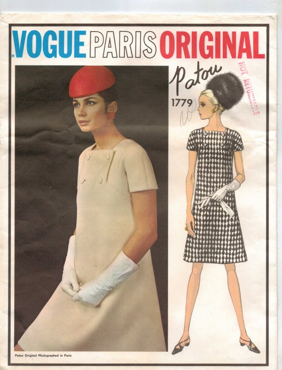 Vintage 60s Vogue Paris Original Pattern 1779 Patou Womens Mod A-Line Dress Size 12 UnCut