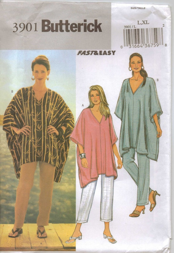 Butterick Pattern 3901 Womens Fast & Easy Tunic and Pants Size 16 18 20 22 UnCut