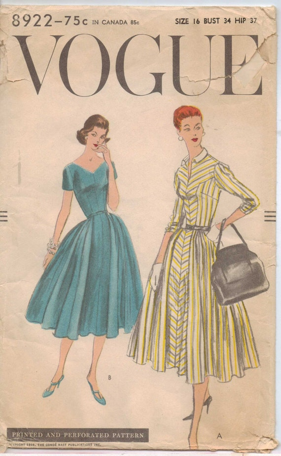 Vintage 50s Vogue Pattern 8922 Womens Rockabilly One Piece Dress Size 16 Bust 34