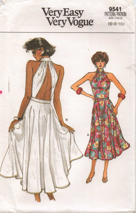 1980s Very Easy Very Vogue Pattern 9541 Womens Summer Dress
