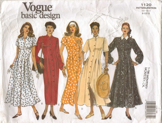90s Vogue Basic Design Pattern 1120 Womens Tapered or Flared Dress Size 8 10 12 Bust 31 1/2 to 34 UnCut
