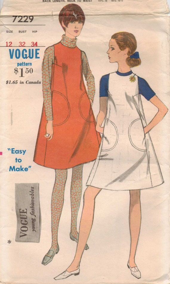 60s Vogue Young Fashionables Pattern 7229 Womens Mod One Piece Jumper Size 12 Bust 32