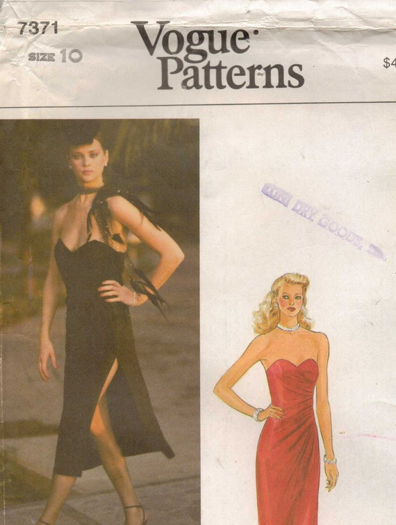 80s Vogue Pattern 7371 Womens Strapless Dress for Stretchable Knits Only Size 10 Bust 32 1/2 UnCut