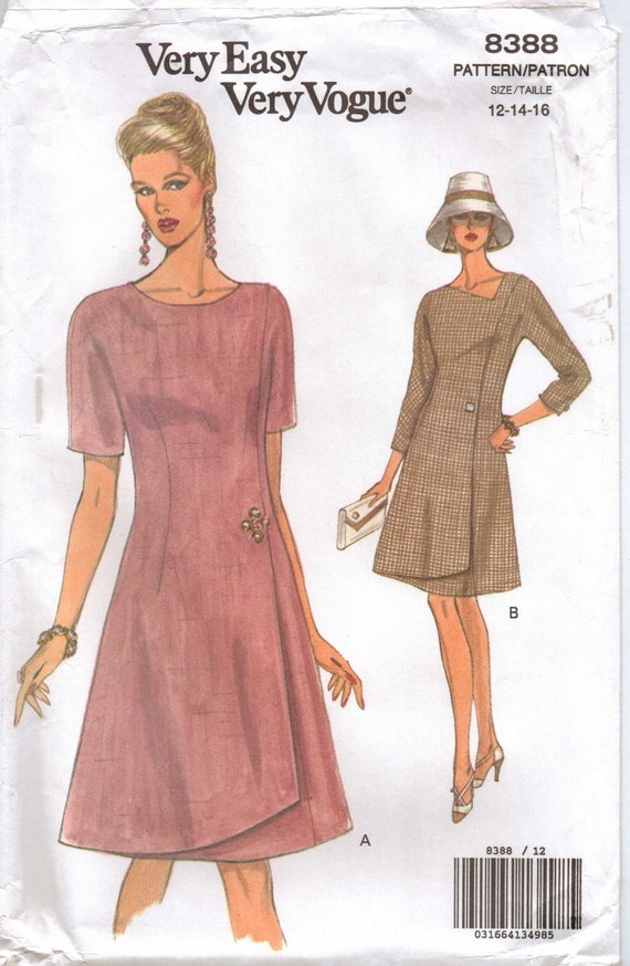 90s Very Easy Very Vogue Pattern 8388 Womens A-Line Summer Dress Size 12 14 16 UnCut
