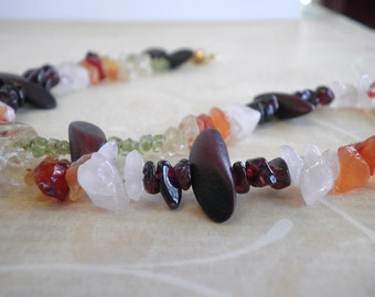 """Multi-Stone and Wood """"Tooth"""" Necklace"""