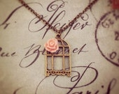 Victorian Rose Birdcage Necklace