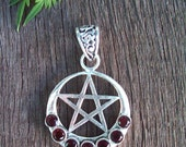 Garnet & .925 Sterling Silver Pentacle  Pendant
