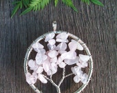 Silver-Plated Wire Wrapped Rose Quartz 'Tree of Life' Pendant