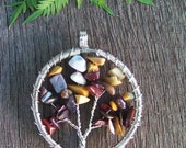 Silver-Plated Wire Wrapped Mookaite 'Tree of Life' Pendant