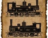 Vintage Trains, Iron On, Ephemera, Altered, Digital Image Transfer No.89