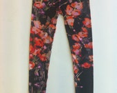 "Ankle length leggings-Floral Poppy print """"""""""""""""""""""HALF PRICE"""""""""""""""""""""