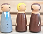 Custom Wooden Bridal Party (three figures) for Gift or Cake Topper