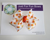 I Love Candy Corn Boutique HairBow - Ready to Ship