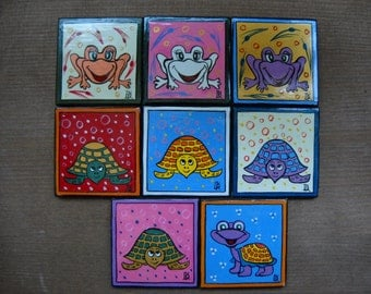 Funny Turtle Magnet, Magnet Set, Magnet Gift, Small Sea Turtles, Handmade Ceramic, Tropical Magnets, Tropical Decor, Beach Decor