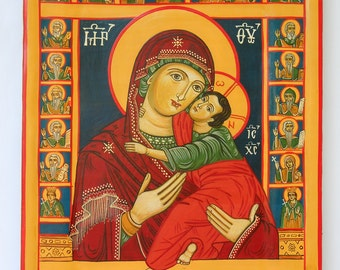 Madonna with Child Jesus, surrounded by saints, Romanian Byzantine Icon, blessed Icon of Saint Mary and the child Jesus, Theotokos