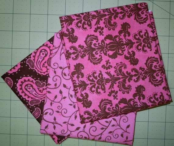 Pink & Brown Fat Quarters, Bundle of 3