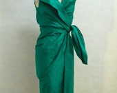 Maria Severyna Emerald Dupioni Wrap Dress Mother of the Bride Dress - available in many colors