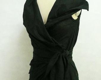 Maria Severyna black Silk Dupioni Wrap Dress