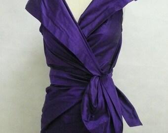 Maria Severyna Royal Purple Dupioni Wrap Dress