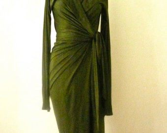 Special Order for Victoria MARIA SEVERYNA Hunter Green Wrap dress in wool jersey