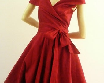 Custom Made  MARIA SEVERYNA Double Wrap Full Skirt Dress 1950s style cocktail dress