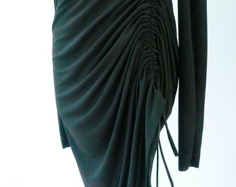 Maria Severyna Black jersey long sleeve Ruched Dress
