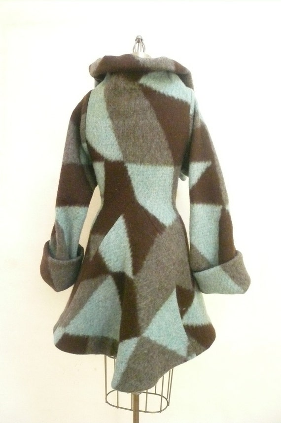 Special Price - Ready to ship - Maria Severyna Boiled wool and Mohair Geometric coat - size Medium