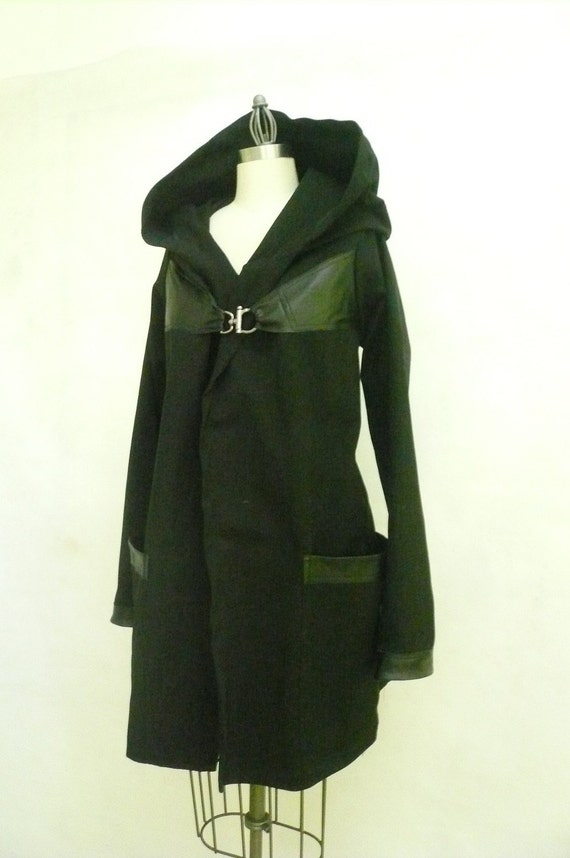 MARIA SEVERYNA Black Twill&Leather hooded Trench Coat