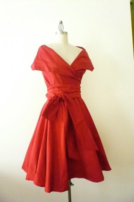 Custom Made  MARIA SEVERYNA Ruby Red Double Wrap Full Skirt Dress