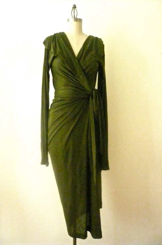 Special Order for Paula - MARIA SEVERYNA Hunter Green Wrap dress