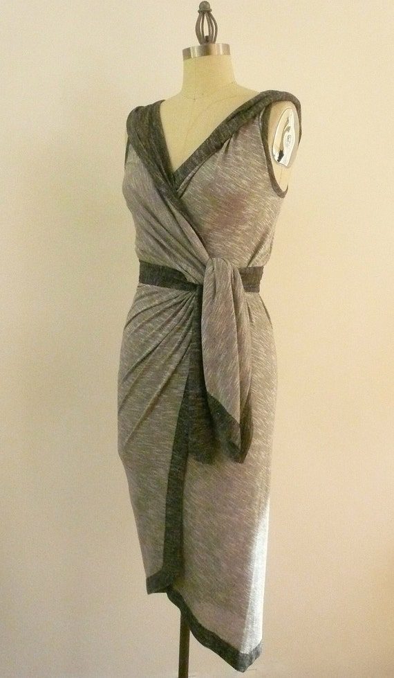Grey Maria Severyna Cotton Jersey hooded sleeveless Wrap dress - Available in many colors