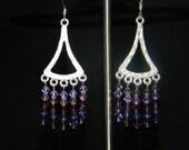 Purple Chandelier Swarovski Earrings OOAK one of a kind
