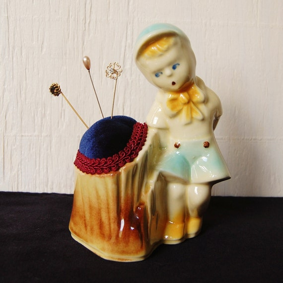 Little Boy Pincushion, Vintage and Upcycled
