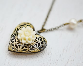 Heart Locket Necklace, Picture Photo Antique Style Filigree Locket Pendant with Ivory Rose Flower, White Pearl, Valentine Love Gift