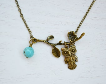 Owl Necklace, Owl Jewelry Necklace,Owl Charm Necklace, Turquoise Necklace. Antique Brass Necklace, Flower Blossom, Bridesmaid Gift, Friend