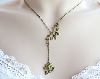 Owl Necklace, Brass Owl Necklace, Tree Branch Jewelry, Leaf Necklace, Hoot Owl Pendant, Woodland Whimsical, Bridesmaid Gift, Christmas Gift