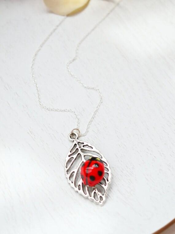 Ladybug Leaf Necklace on Antique Silver Filigree Leaf Jewelry. Leaf Necklace,Filigree Leaf Jewelry, Skeleton Leaf Necklace. Tree Branch