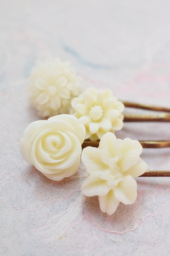 Wedding Hair Accessories, Ivory White Bobby Pin Set, Hair Accessories, Bridal Wedding Accessories, Bridesmaid Hairpin Set, Ivory White Weddi