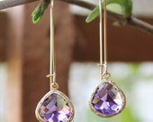 Stunning 16k gold plated Amethyst Glass Stone dangle earrings