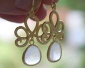 White Jade. Gorgeous gold swirl white dangle drop gift earrings