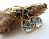 Beautiful 16k gold web framed deep sapphire glass stone earrings