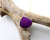The Nature collection. Large gold bezeled purple turquoise necklace
