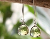 Peridot. Stunning Rhodium green dangle earrings
