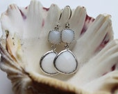 Beautiful white coral rhodium framed glass stone earrings