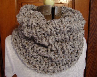 Cowl Hand knitted in a Grey Marble color